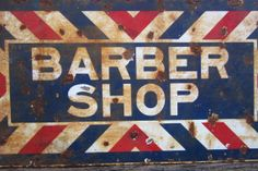 Barber Shop Porcelain Sign Distressed Rusted Bent Rustic Barn Primitive Hanger Farm Metal Sign