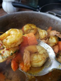 A quick and simple curried shrimp recipe perfect for any day of the week. Ingredients 1 tbsp vegetable oil 1 small onion, finely diced 3 cloves garlic, chopped 1 tsp ginger, chopped ½ scotch bonnet pepper, chopped 2 tbsp curry powder 1 lb jumbo raw Shrimp, peeled, deveined 1 stalk scallion 2 sprig thyme salt […] Chef Recipes, Asian Recipes, Caribbean Recipes, Caribbean Food, How To Peel Shrimp, Scotch Bonnet Pepper, Curry Powder, Shrimp Recipes, Seafood