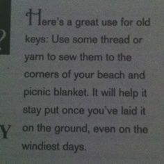 Keep blanket down at the beach
