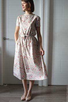"""Купить Платье """"Барышня"""" - салатовый, цветочный, цветочное платье, летнее платье, платье с кружевом, кружево"""