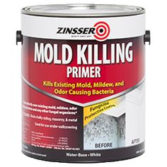 Zinsser® Mold Killing Primer is a water-based, INTERIOR/EXTERIOR, fungicidal protective coating that kills existing mold, mildew, moss, fungi, odor causing bacteria and any other fungal organisms, and prevents their regrowth.  Aides in covering residual microbiological and fungal stains.  Binds chalky siding, masonry, and metal. - Great for use under wallcovering - FOR STAINS CAUSED BY WATER LEAKS,  allow Mold Killing Primer to dry then use a Zinsser stain blocking primer,