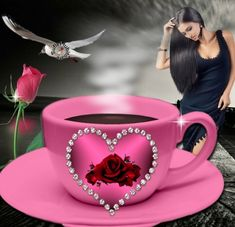 Coffee Gif, Joelle, Night Love, Bon Weekend, Belle Photo, Good Morning, Iphone Wallpaper, Heart Ring, Tea Cups