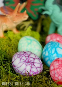 Dad would love dino eggs- hard boiled eggs, crack up the shell, color water with food coloring, leave them in for hours (or overnight) then take the shells off- eggs will be crackly!