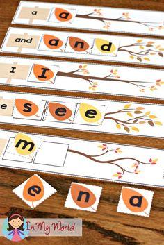 FREE Autumn / Fall Preschool Centers leaf sight words