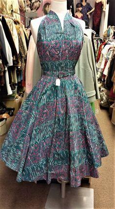 Vintage 1950s TAFFETA Full Circle Halter SWING Dress FABULOUS PRINT & COLORS XSm #Party