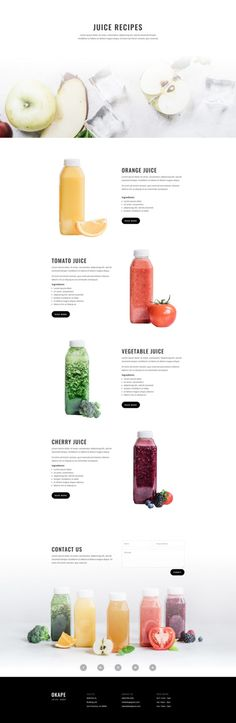 Juice Shop Recipes Page Recipe Graphic, Juice Store, App Design Inspiration, Design Ideas, Juice Packaging, Splash Photography, Web Ui Design, Crisp Image, Shop Layout