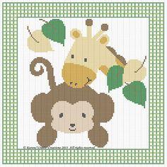 "Monkey Giraffe Baby Cross Stitch Pattern Chart 10"" x 10"" Easy | eBay"