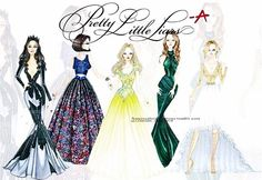 What I like about this design is that it all shows the personalities of the girls of PLL. For example Spencer is wearing green wich represents Envy and ambition. While Hanna's dress is kindness and prosperity. Also Emily's dress is black showing how mysterious she is. Lastly I like the brightness of the colors and the details. -Jorge Saldana