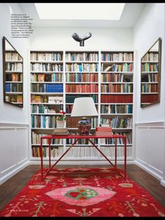 Book Shelves - Cath Kidstons house love the red table and lamp Bookshelves, Bookcase, Library Room, Still Life Photographers, Red Rugs, Home Studio, Decoration, Home Office, House Styles