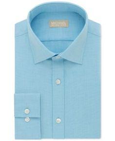 Michael Kors Men's Classic Big and Tall Fit Non-Iron Green Solid Dress Shirt - Blue 18.5 34/35