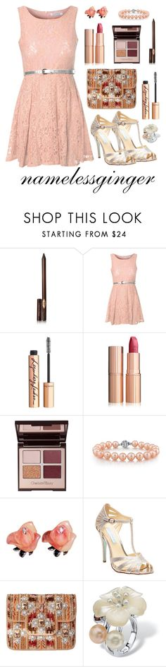 """just peachy"" by namelessginger ❤ liked on Polyvore featuring Charlotte Tilbury, Glamorous, Betsey Johnson, Mary Frances Accessories and Palm Beach Jewelry"
