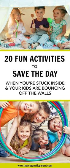 The 20 Best Inside Activities to entertain active kids when you're stuck indoors. Games & activities kids love & help release pent-up energy. #indooractivitiesforkids #insidegamesforkids