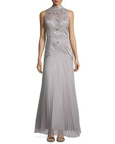 High-Neck Embroidered Pleated Gown  by Sue Wong at Neiman Marcus.