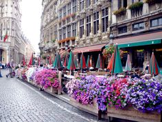 Not sure what city this is, but I love cities with cobblestone streets, sidewalk cafes and lots of beautiful flowers!