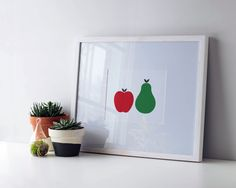 Colorful #kitchenart  #printable apple and pear #print  by HelloOliveDesigns