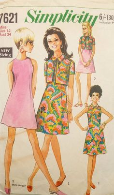 Simplicity 7621 Womens A Line Dress & Jacket Vintage Sewing Pattern Size 12 Bust 34 inches Robes Vintage, Vintage Fur, Vintage Dresses, Vintage Outfits, Dress Making Patterns, Vintage Dress Patterns, Clothing Patterns, 60s And 70s Fashion, Retro Fashion