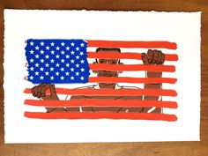 Our flag by Arif Qazi Hand-pulled silkscreen printed by the Artist in Berkeley, California. Each print is unique, slight offset, has a rough paper edge similar to fine art paper.Printed on 250 gsm Stonehenge White Specialty Art paper. 100 Cotton.UnframedHand silkscreened 4 colors - Black Blue, Red and BrownNumbered and signed in pencil.Limited Edition of 20 printed in June 2017. Size of Art: 18in x 13.5in (45.72cm x 34.29cm)Size of Paper: 22in x 15in (55.88cm x 38.1cm)Follow me on Instagram