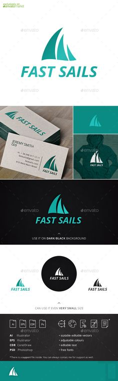 Fast sails logo is a logo that can be widely applied in many businesses and spheres connected with ships, boats, yachting, yacht c