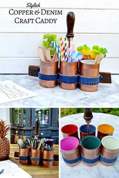 DIY stylish copper and denim craft caddy, using tin cans.  Or you could use it as a picnic caddy.
