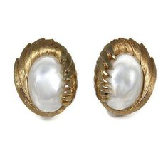Faux Pearl Crown Trifari Clip Back Earrings by TheFashionDen