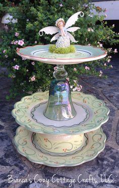 Fairy Bird Bath, Garden Whimsy, Bird Feeder, Garden Totem, Garden Decor,  Upcycled Tableware, Upcycled Ceramics, Garden Art, Fairy Decor