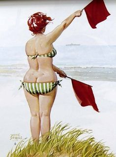 Hilda - using semaohore flags to send message to ship. Do you think she's saying 'over here handsome'