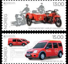 The theme for this stamp issue is Postal Vehicles. The subjects are a 1932 Harley-Davidson (now in the Post Museum in Lillehammer) and a brand new Ford Connect Electric. Issued by the Norwegian Post in 2013. #stamps #norway #cars  http://www.wopa-stamps.com/index.php?controller=country&action=stampRelatedIssue&id=10784
