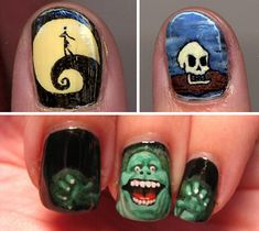Nightmare Before Christmas and Ghostbuster nails!