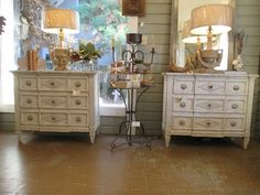 Pair Painted Commodes