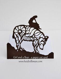 NEW! - Girl and a Bear - Beautiful Paper Cut Card - Original Design - Reversible…