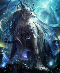 Card: White Wolf of Eldwood Fantasy Wolf, Fantasy Beasts, Fantasy Dragon, Dark Fantasy Art, Fantasy Artwork, Mystical Animals, Mythical Creatures Art, Mythological Creatures, Magical Creatures