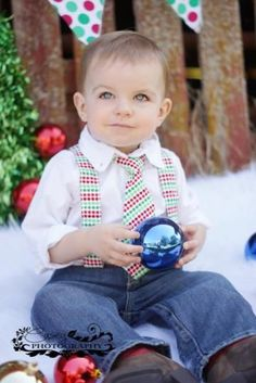 Christmas Tie-Baby Boy Suspenders Set- Red and Green Dots- Toddler Suspender and Tie- Wedding - Holiday - Family Picture - Photography Prop by Littleguytiesandmore for $32.00