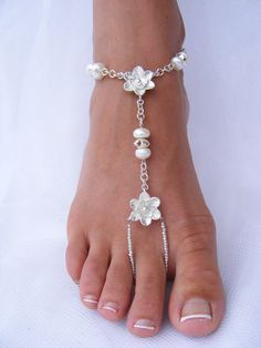 Sterling Silver and Freshwater Pearl Barefoot Sandals by Passionflower Jewellery Designs
