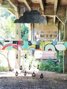 olive47 steel mobile installation with Hense and Born mural for Art on the Atlanta Beltline