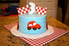 car party cake by maureen's bakery Car Birthday, Birthday Cakes, Birthday Parties, Car Party, Party Time, Transportation Party, Mat, Party Cakes, Cake Ideas