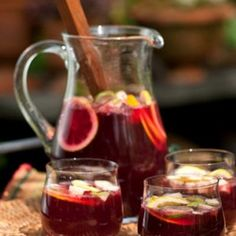 Traditional Sangria 2 btls dry red wine (chilled, rioja) 1 cup brandy 1 cup orange juice 1/4 cup granulated sugar (superfine) 2 oranges (cut into thin rounds) 2 meyer lemons (cut into thin rounds) 3 key limes (cut into thin rounds) 2 apples (cored and cut into 1/2 inch chunks) 2 cups club soda (cold)