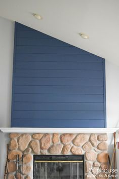 How to create a fireplace wood feature wall – A modern Shiplap style. Step-by-step tutorial to create this look! Changing up this classic farmhouse look to blend with the coastal and contemporaneity home. Candles In Fireplace, Paint Fireplace, Shiplap Fireplace, Small Fireplace, Concrete Fireplace, Fireplace Remodel, Fireplace Surrounds, Fireplace Modern, Fireplace Outdoor