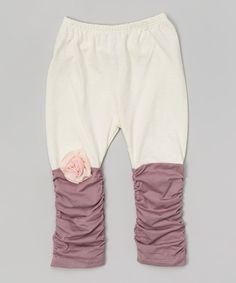 Ecru & Purple Leggings - Infant & Toddler | zulily