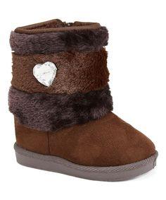 Brown Heart & Rhinestone Boot
