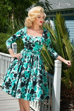 Margaret Dress in Mint with Black Roses Satin