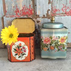Two vintage tea and candy tins orange and blue by MulfordCottage