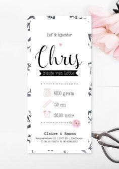 Gaaf geboortekaartje met waterverf en bloemenprint, hip ontwerp www.charlyfine.nl