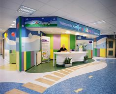 This area of a children's hospital uses many elements of design to make this a kid-friendly area.