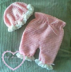 Mob hat and pantaloon set.  Pink set is 912 by MollyMarieMade,