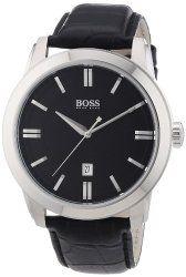 Hugo Boss Black Dial Black Leather Mens Watch 1512767