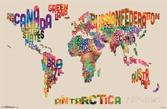 World Map - Text Posters at AllPosters.com