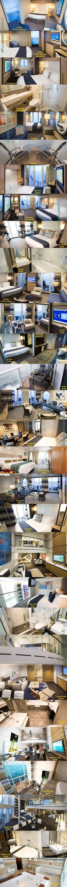 Royal Caribbean Ovation of the Seas cabins and suites photos. To the last rooms! Cruise Excursions, Cruise Travel, Cruise Vacation, Family Cruise, Family Travel, Cruise Tips Royal Caribbean, Rhapsody Of The Seas, Empress Of The Seas, S Videos