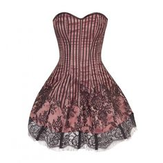 Pink Flared Corset Dress with Black Contrast Lace Mesh ❤ liked on Polyvore featuring dresses, pink dress, corset cocktail dress, flare dress, mesh corset and flared dresses