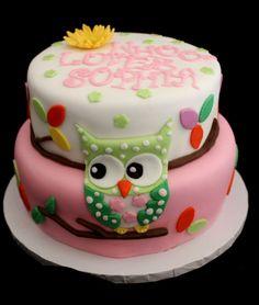Pink, green, yellow, orange, purple, owl themed babyshower cake.
