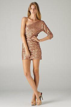 One Shoulder Sequined Dress